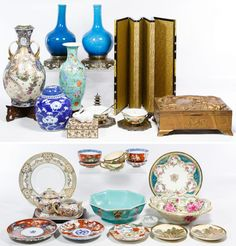 Lot 367: Asian Ceramic and Metalware Assortment; Including moriage decorated china, (2) hand painted rice bowls with lids and under plates; a China marked enameled metal box with a ceramic rabbit finial, ceramic teacups with metal handles, a sandalwood lined metal dragon box and a decorative screen