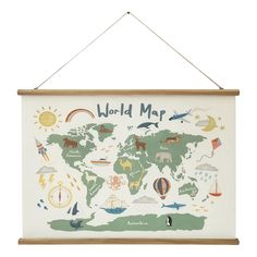 Kids World Map By Hayley Cunningham Scroll Wall Hanging: Multi - Linen by World Market