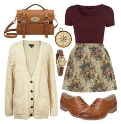 Cute casual vintage outfit idea: A fashion look from April 2013 featuring burgundy crop top, floral print skirt e balmoral oxfords. Browse and shop related looks. Mode Outfits, Fall Outfits, Casual Outfits, Fashion Outfits, Womens Fashion, Nerd Outfits, Fashion Purses, Skirt Outfits, Fashion Clothes