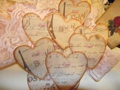 Set Of  Eight Hearts Distress Style For Scrap Booking  by Lizzgifttags, $4.50 USD