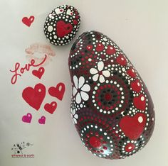 Painted Rock, Heart Motif, Mandala Inspired Design, Painted Stone, Rock Art…