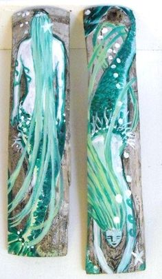 Hand Painted Mermaids on Drift Wood Bamboo by oceangirlcollection, $38.00