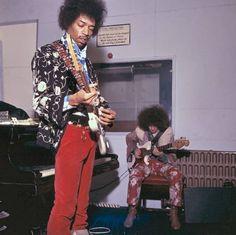 Jimi Hendrix at the Olympic Studio in Barnes London, 1967.