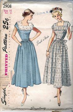 Items similar to 1949 Vintage Simplicity 2908 Junior Miss and Misses One-Piece Dress Pattern - Size Part Cut, Complete Square Neckline Dirndl Skirt on Etsy Vintage Fashion 1950s, Retro Fashion, Vintage Sewing Patterns, Clothing Patterns, Corsage, Dirndl Skirt, Junior, One Piece Dress, Retro Dress