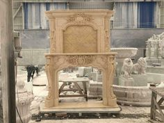 BEAUTIFUL MARBLE ESTATE FRENCH STYLE FIREPLACE MANTEL - NMM2 #fromeuropetoyou Fireplace Mantels For Sale, Marble Fireplace Mantel, Marble Fireplaces, Double Fireplace, French Style, European Style, Mantel Surround, Verde Island, White Marble