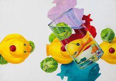 일본 기초디자인, 장난감 오리,물컵,양배추:
