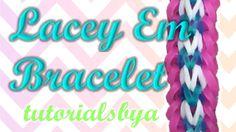 NEW Lacey Em Rainbow Loom Bracelet Tutorial- Original Design Rainbow Loom Tutorials, Rainbow Loom Patterns, Rainbow Loom Creations, Rainbow Loom Bands, Rainbow Loom Charms, Crazy Loom Bracelets, Loom Bracelet Patterns, Rainbow Loom Bracelets, Fun Loom