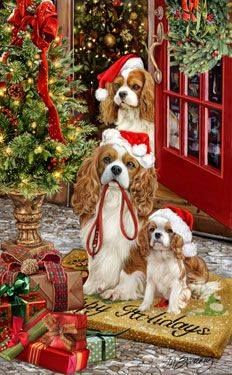 Cavalier King Charles Spaniel Christmas Holiday Cards are 8 x 5 and come in packages of 12 cards. One design per package. All designs include envelopes, your personal message, and choice of greeting. Christmas Scenes, Christmas Animals, Christmas Love, Christmas Pictures, Christmas Greetings, Merry Christmas, King Charles Dog, King Charles Spaniel, Cavalier King Charles