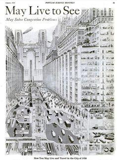 Изображение «Мегаполиса будущего» в журнале Popular Science в 1925 году