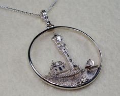 Nautical Lighthouse on Shore with Sailboat by SilverHorizonDesigns, $155.00