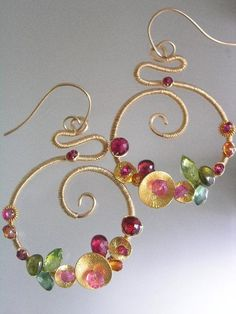 Bombshells...Ruby Peridot Pink and Orange Sapphire Signature Original Gold Filled Scrolled Earrings.