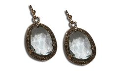 "18KT WHITE GOLD AND BLUE CRYSTAL WITH INDIAN ROUGH CUT ""POLKI"" DIAMOND DROP EARRINGS."
