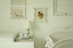 Baby room.  Vintage framed shoes