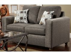 Contemporary Loveseat In Grey   Sam Levitz Furniture