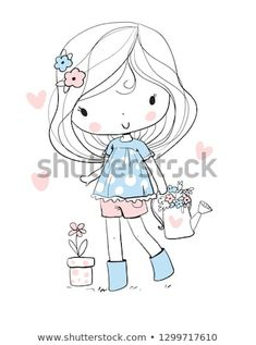 Find Girl Flowers stock images in HD and millions of other royalty-free stock photos, illustrations and vectors in the Shutterstock collection. Thousands of new, high-quality pictures added every day. Doodle Art, Kids Prints, Art Prints, Art Mignon, Illustrations, Illustration Art, Kawaii Doodles, Girls With Flowers, Simple Doodles