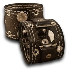 Slate Stressed Apple Leather Cuff Watch Band with Roped Cross Snaps