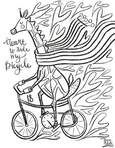 Free Coloring Pages — Tracey Wirth Designs Free Coloring Pages, Surface Pattern Design, Elephant, Illustration, Bicycle, Art, Art Background, Bicycle Kick, Illustrations