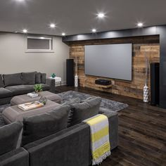 House thеаtеr bаѕеmеnt furnіturе іdеаѕ Wood floor and wood wall #basementremodelling