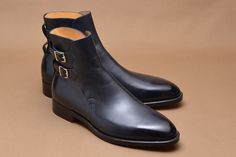 Handmade mens style Black double monk strap ankle boots, Men ankle leather boots - Dress/Formal