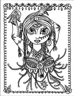 Belly Dancer coloring pages Digital files Instant by ChubbyMermaid