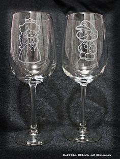 Mario and Peach Wineglass Set    Great for by LittleBlobOfGreen