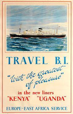 'Travel B. East Africa, Vintage Travel Posters, Steamer, Talk To Me, Uganda, Kenya, Routine, Stickers, Adventure