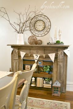 We don't have any space for this but what a great idea. I love the charm and character, and I feel like I've seen lots of old fire place mantels getting thrown out... Combine a faux fireplace with pallet shelving #DIY