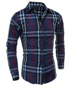 Classic Color Block Plaid Print Multi-Button Slimming Shirt Collar Long Sleeves Men's Shirt