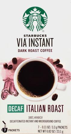 Starbucks VIA Instant Coffee, Decaf Italian Roast, 7 Count