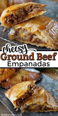 Beef Empanadas, Comida Latina, Enchiladas, Appetizer Recipes, Ground Beef Appetizer Recipe, Ground Beef Calzone Recipe, Meat Empanadas Recipe, Meat Appetizers, Food Dishes