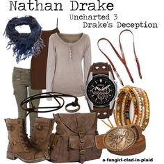 """Nathan Drake (Uncharted 3: Drake's Deception)"" by a-fangirl-clad-in-plaid on Polyvore"