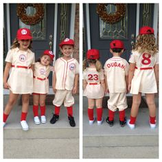 A League of Their Own Rockford Peaches costumes I made for the kids...1st place in the Rockford, Michigan Harvest Festival costume contest!