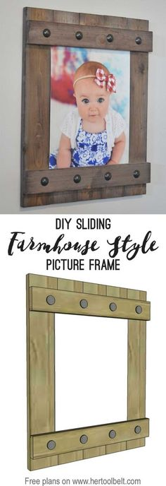 Change out your photo prints super easy with a sliding farmhouse style frame. Make these cute frames out of wood for as little as $5. Free plans