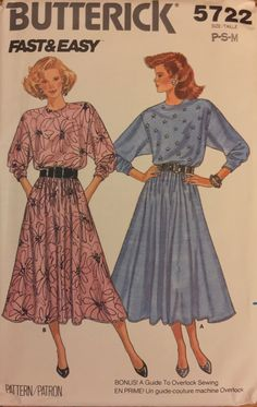 VTG 5722 Butterick (1987) misses' dress.  Size P-S-M (6-8-10-12-14).  Complete, unused, FF. Excellent condition. by ThePatternParlor on Etsy