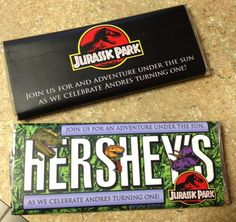 Jurassic Park Party Candy Bar Wrappers