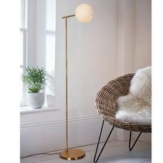 Floor lamps living room - Miko Polished Brass Floor Lamp, Beige, Warehouse of Tiffany Decorative Floor Lamps, Unique Floor Lamps, Brass Floor Lamp, Foyer Decorating, Transitional Wall Sconces, Lamp Design, Chair Design, Design Design, Home Lighting