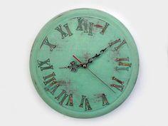 Green rustic wall clock!