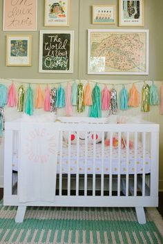 Love the garland and fun colors of this nursery.