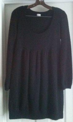 Cache Cashmere Sweater Dress Black Womens Large  #Cach #ScoopNeck