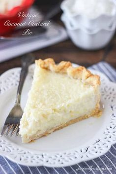 This Old Fashioned Coconut Custard Pie is similar to what you would imagine a coconut crème brulee might be. The flaky pie crust is filled with loads of shredded coconut set in a baked custard. - sub gf pie crust Kokos Desserts, Coconut Desserts, Coconut Recipes, Köstliche Desserts, Pie Recipes, Sweet Recipes, Delicious Desserts, Dessert Recipes, Coconut Cheesecake