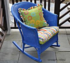 If you have a Goodwill or Restore in your area, look for an old wicker rocker, spray paint it a bright color, and pick up some throw pillows from Pier One. Description from muchpics.com. I searched for this on bing.com/images
