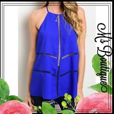 "Gorgeous Cut Out Top Made in USA. BRAND NEW Color available: Blue Size available: S M L Material: 97% Polyester 3% Spandex Note: Due to the difference between different monitors, the actual color of the item may be slightly different. Item's measured by hand, could be 1"" different. Price firm.  NO TRADE M's Boutique Tops Tank Tops"