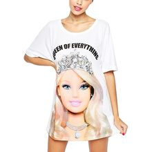 FV RELAY Women's Cute Barbie Printed Tunic Top Crew Neck T Shirt Dress