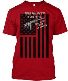 f01d5b158 Amazon.com  Teespring Unisex Isis Hunter Hanes Tagless T-Shirt  Clothing