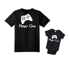 Video Game Player One Player Two Set New Dad by Popcultureapparel