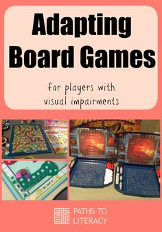 Tips to adapt board games for players who are blind or visually impaired using tactile elements and braille. Educational Games For Kids, Science Activities For Kids, Activity Games, Therapy Activities, Preschool Activities, Articulation Activities, Dice Games, Play Therapy, Activity Ideas
