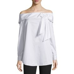 Tibi Off-the-Shoulder Poplin Top ($365) ❤ liked on Polyvore featuring tops