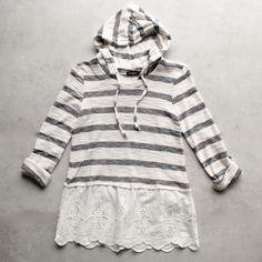 striped vintage lace hem womens hoodie sweater top - shophearts - 1