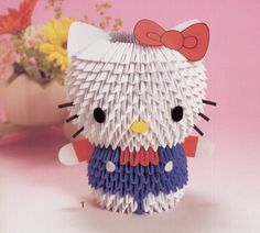 Origami Hello Kitty - Origami Cute Hello Kitty And Friends Made Of Origami If How To Make Origami Hello Kitty Diy Hello Kitty Tutorials The Dagger Origami Design Origami Design, 3d Origami Ei, Origami White, Origami Modular, Origami Yoda, Origami Star Box, Origami Dragon, Paper Crafts Origami, 3d Paper