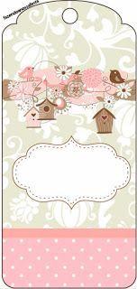 Passarinhos e Flores - Kit Completo com molduras para convites, rótulos para guloseimas, lembrancinhas e imagens! Printable Tags, Free Printables, Printable Scrapbook Paper, Diy And Crafts, Paper Crafts, Baby Journal, Bird Party, Card Sentiments, Note Paper